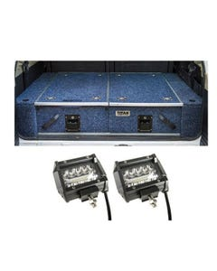 """Titan Rear Drawer with Wings suitable for Nissan Patrol DX, ST, STI, ST-S + 4"""" LED Light Bar"""