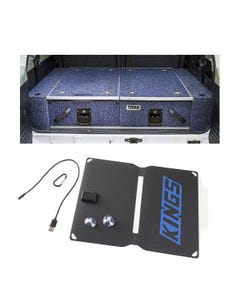 Titan Rear Drawer with Wings suitable for Toyota Landcruiser 100/105 Series (GX/GXL Sept 1998-2005 No Air Con in rear) + Adventure Kings 10W Portable Solar Kit