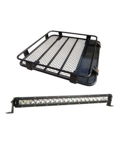 "Steel Roof Rack 1/2 Length + 20"" LETHAL MKIII Slim Line LED Light Bar"
