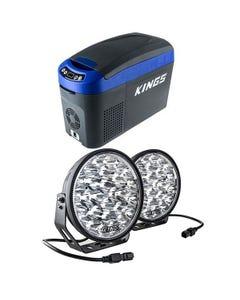 """Adventure Kings 15L Centre Console Fridge/Freezer + Domin8r Xtreme 9"""" LED Driving Lights (Pair)"""