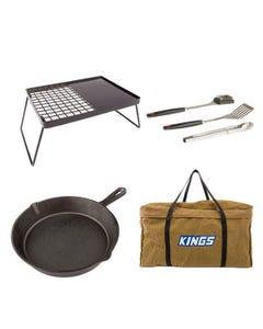 Adventure Kings Essential BBQ Plate + BBQ Tool Set + Skillet Pan + BBQ Canvas Bag
