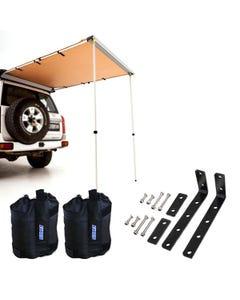 Adventure Kings Rear Awning 1.4 x 2m + Awning Mounting Brackets (Pair) + Adventure Kings Sand Bags (pair)