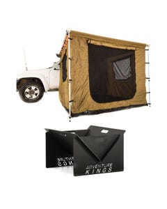 Adventure Kings 2.5 x 2.5m Awning Tent + Kings Portable Steel Fire Pit