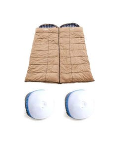 2x Adventure Kings Premium Sleeping bag -5°C to 5°C Degrees Celsius - Left and Right Zipper + 2x Mini Lantern
