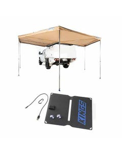 King Wing Deluxe 270° Wrap-Around Awning + 10W Portable Solar Panel