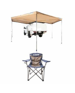 King Wing Deluxe 270° Wrap-Around Awning + Throne Camping Chair