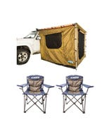 Adventure Kings Awning Tent 2.5x2.5m + 2x Throne Camping Chair