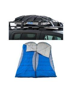 2x Kings Hooded Sleeping Bag   Rated to -2° + Half-Length Premium Waterproof Rooftop Bag