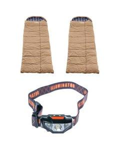 2x Adventure Kings Premium Sleeping bag -5°C to 5°C Degrees Celsius - Left and Right Zipper + Illuminator LED Head Torch