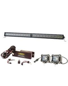 "Kings 30"" Laser Light Bar + Spotlight Wiring Harness + 4"" LED Light Bar"