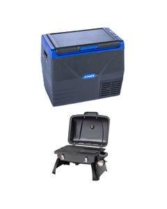 Kings 35L Fridge / Freezer + Voyager Portable Gas BBQ