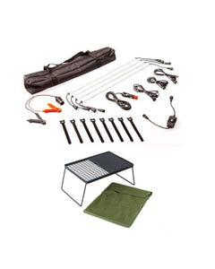 Illuminator 4 Bar Camp Light Kit + Adventure Kings Camp Fire BBQ Plate