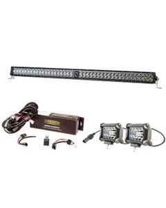 "Kings 40"" Laser Light Bar + Spotlight Wiring Harness + 4"" LED Light Bar"