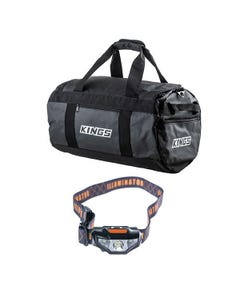 Kings 40L Large PVC Duffle Bag + Illuminator LED Head Torch