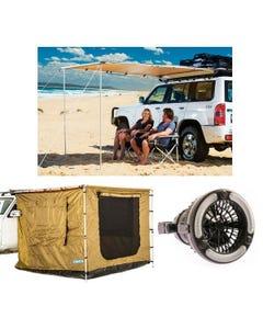 Adventure Kings 2 x 2.5m Awning Tent + Adventure Kings Awning 2x2.5m + Adventure Kings 2in1 LED Light & Fan