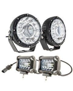 """Kings 7"""" Laser Driving Lights (Pair) + 4"""" LED Light Bar"""