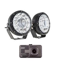 """Kings 7"""" Laser Driving Lights (Pair) + Dash Camera"""
