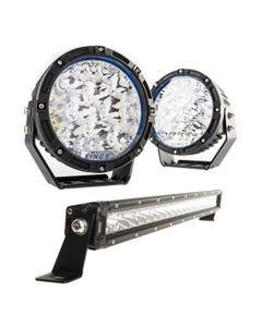 "Kings Lethal 7"" Premium LED Driving Lights (Pair) + 20"" LETHAL MKIII Slim Line LED Light Bar"