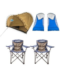 Adventure Kings Double Swag Big Daddy Deluxe + 2x Hooded Sleeping Bag + 2x Throne Camping Chair