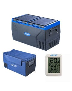 Kings 75L Dual Zone Fridge / Freezer + Wireless Fridge Thermometer + 75L Fridge Cover