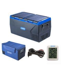 Kings 75L Dual Zone Fridge / Freezer + 75L Fridge Cover + 12V Fridge Wiring Kit + Wireless Fridge Thermometer