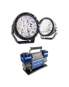 "Kings Lethal 7"" Premium LED Driving Lights + Thumper Max Dual Air Compressor MkII"