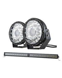 "Kings 8.5"" Laser MKII Driving Lights (pair) + Kings 30"" Laser Light Bar"