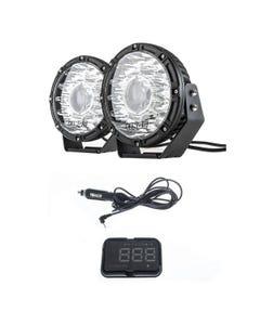 "Kings 8.5"" Laser MKII Driving Lights (pair) + Heads Up Display (HUD) Unit"