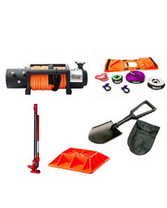 """Domin8r X 12,000lb Winch with rope + Hercules Essential Nylon Recovery Kit + Offroad Jack 48"""" + Jack Base + Recovery Folding Shovel"""
