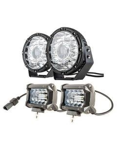 "Kings 8.5"" Laser MKII Driving Lights (pair) + 4"" LED Light Bar (Pair)"