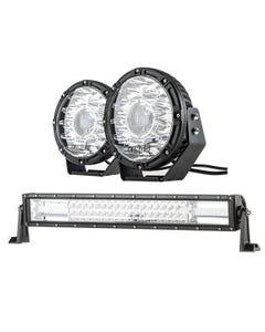 "Kings 8.5"" Laser MKII Driving Lights (pair) + Domin8r 22"" LED Light Bar"
