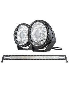 "Kings 8.5"" Laser MKII Driving Lights (pair) + Domin8r 42"" LED Light Bar"