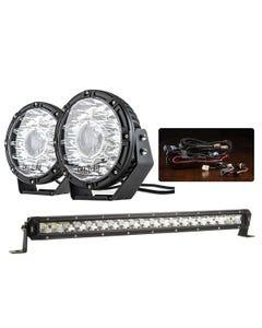 """Adventure Kings 8.5"""" Laser Driving Lights + Smart Harness + 20"""" LETHAL MKIII Slim Line LED Light Bar"""