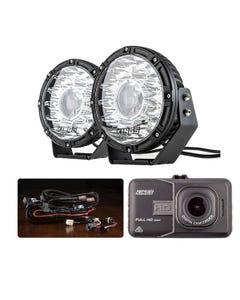 "Kings 8.5"" Laser MKII Driving Lights (pair) + Smart Harness + Adventure Kings Dash Camera"