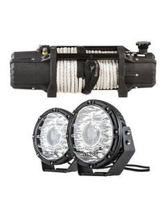 """Domin8r Xtreme 12,000lb Winch + Kings 8.5"""" Laser MKII Driving Lights (pair)"""