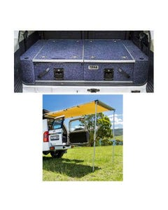 Titan Rear Drawer with Wings suitable for Toyota 120 Series Prado GXL + Adventure Kings Rear Awning - 1.4 x 2m