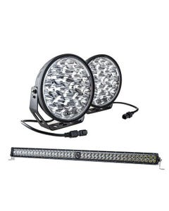 "Kings Domin8r Xtreme 9"" LED Driving Lights (Pair) + 30"" Laser Light Bar"