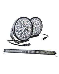 "Kings Domin8r Xtreme 9"" LED Driving Lights (Pair) + 40"" Laser Light Bar"