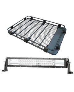 """Steel Roof Rack 3/4 Length + Domin8r 22"""" LED Light Bar"""