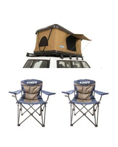 Kings Kwiky MKII Hard Shell Rooftop Tent + 2x Throne Camping Chair