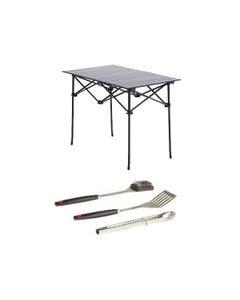 Adventure Kings Aluminium Roll-Up Camping Table + BBQ Tool Set