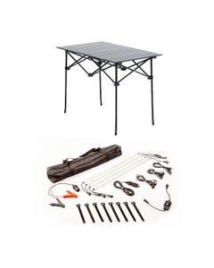 Adventure Kings Aluminium Roll-Up Camping Table + Illuminator 4 Bar Camp Light Kit