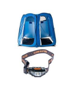 Adventure Kings Double Ensuite/Shower Tent + Illuminator LED Head Torch