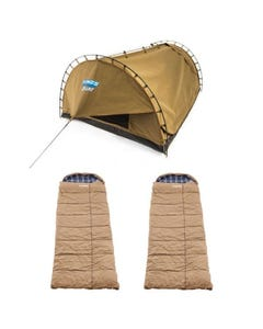 Adventure Kings Double Swag Big Daddy Deluxe + 2x Adventure Kings Premium Sleeping bag -5°C to 5°C Degrees Celsius - Left and Right Zipper