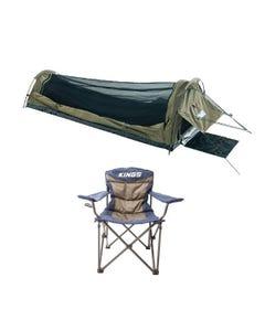 Adventure Kings Single Swag - Kwiky + Adventure Kings Throne Camping Chair