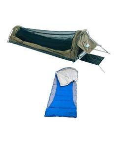 Adventure Kings Single Swag Kwiky + Left Hooded Sleeping Bag