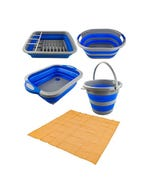 Adventure Kings Collapsible Sink + Collapsible 10L Bucket + Collapsible Laundry Basket + Collapsible Dish Rack + Mesh Flooring 3m x 3m