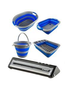 Adventure Kings Collapsible Sink + Collapsible 10L Bucket + Collapsible Laundry Basket + Collapsible Dish Rack + Vacuum Sealer