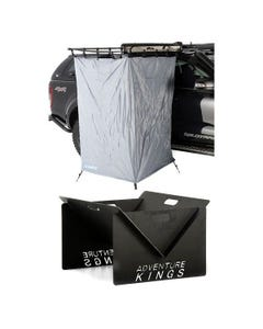 Ensuite Awning Shower Tent  + Portable Steel Fire Pit