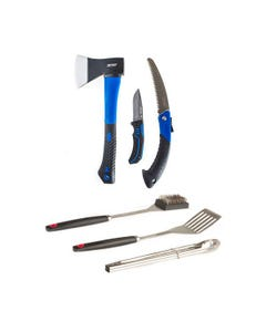 Kings Three Piece Axe, Folding Saw and Knife Kit + BBQ Tool Set